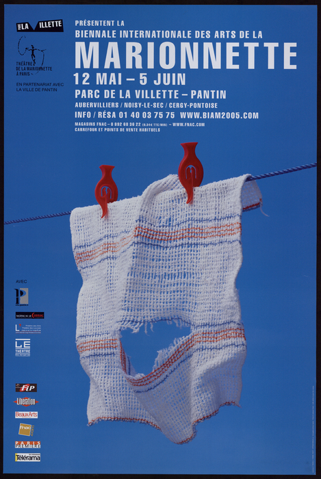 Affiche de la 3e Biennale Internationale des Arts de la Marionnette (2005), par le Théâtre de la Marionnette à Paris