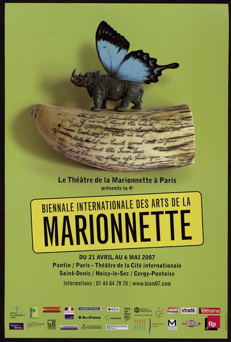 4e édition de la Biennale Internationale des Arts de la Marionnette (2007), par le Théâtre de la Marionnette à Paris, affiche