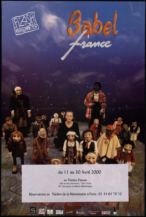 Babel France, par la compagnie Flash marionnettes, affiche de spectacle.