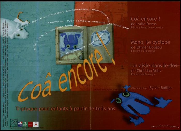Coâ encore !, par la compagnie Ches Panses Vertes, affiche de spectacle.