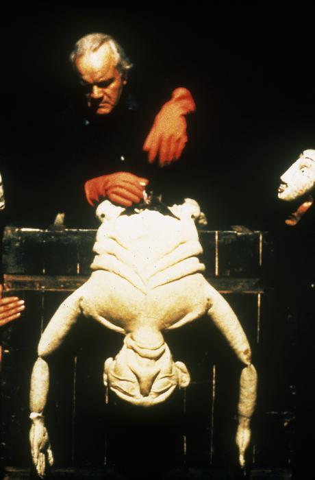 Le Grand-père fou, par le Théâtre aux Mains Nues, marionnette portée à taille humaine et masques, collection CNM/A.